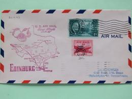USA 1950 First Flight Cover Edinburg (San Antonio Back Cancel) To Philadelphia - Map Orange Fruit - Plane Roosevelt - United States