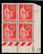 CD0285 / 0286    N°283 - 50c Rouge Type III - Type Paix - 2 Coins Datés 3/11/36 **