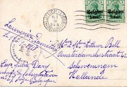OC 12 2x Sur CP  Réelle Photo Femme  Départ Luttich LIEGE 1918 + Censure Vers Scheveningen Holland