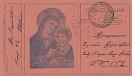 Carte Postale Militaire En Franchise 1941-  La Vierge Et L´Enfant, Cachet Militaire Et Censure Civile