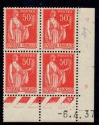 CD0287    N°283 - 50c Rouge Type III - Type Paix - Coin Daté 7/2/35  * Avec Charnière