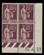 CD0288    N°284 - 65c Type Paix - Coin Daté 14/4/33 **