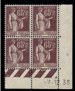 CD0290    N°284 - 65c Type Paix - Coin Daté 09/12/35 **
