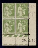 CD0293    N°284A - 75c Type Paix - Coin Daté 26/8/32 * Avec Charnière