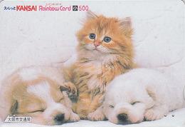 Rare Carte Prépayée Japon - ANIMAL - CHAT & CHIEN LABRADOR - CAT & DOG Japan Prepaid Rainbow Card 500 - 3871 - Gatos