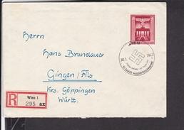 Einschreibbrief Deutsches Reich Mi.829 10 Jahre Machtübernahme Sonderstempel Wien 1943 Nach Gingen