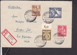 Einschreibbrief Deutsches Reich Freiburg Nach Gingen 1943