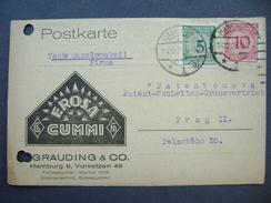 Postkarte 1923 Hamburg - Prag, Firma EROSA GUMMI Grauding & Co., 5 + 10 Reichspfennig