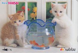 Carte Prépayée Japon - ANIMAL - CHAT Chats & POISSON ROUGE - CAT Cats & FISH Japan Prepaid Nankai Card 2000 - 3878 - Gatti