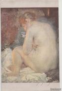 """NU_NUE_NUS_NUDE_NAKED WOMAN-NUDI ARTISTICI-""""Femme Qui Se Chauffe"""" A.BESNARD Pinxit-Original D'epoca 100%- - Pittura & Quadri"""
