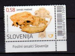2016 Slovenia - Mammal Fossils In Slovenia - Fossils Of Jamski Bear - 1 V Corner With Bar Code - MNH**