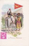 Abyssinia (Ethiopia) Postal Service Mailman, Stamp & Flag Illustration, C1900s Vintage Postcard - Stamps (pictures)