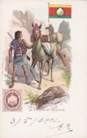 Bolivia Postal Service Mailman, Stamp & Flag Illustration, C1900s Vintage Postcard - Stamps (pictures)