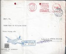 Carta Com Registo Proprio,airmail,EMA Banco Portuguese Atlantic.Circulated LISBOA/BEIRA 1962.Rare.Hole.3scan