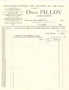 Facture De Omer Pilloy Chaudronnerie Cuivre&Fer à Court-St-Etienne 30/4/1920 PR4120 - 1900 – 1949