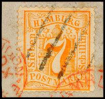 7 Sch. Orange, Farbfrisch Und Vollzähnig, Mit Balkenstempel Auf Kabinettbriefstück, übergehend In...