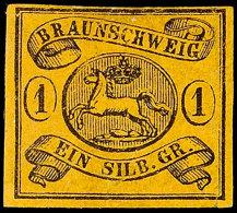 1 Sgr. A. Braungelb, Ungebraucht Ohne Gummierung, Dreiseitig Breitrandiges Exemplar, Oben Etwas Ausgebessert Und...