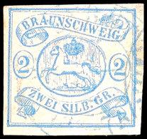 2 Sgr. Preußischblau, Farbfrisches, Allseits Breitrandiges Exemplar Mit Blauem K2 Von Wolfenbüttel,...