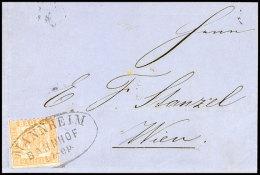 """""""MANNHEIM BAHNHOF 17 Sep. (1866)"""", Großer Ovalstempel, Klar Als Entwerter Auf Postvereinsauslandsbrief 9 Kr...."""
