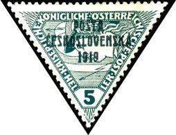"""5 Heller Dreiecksmarke Mit Aufdruck """"Üpsta Ceskoslovenska 1919"""", Tadellos Ungebraucht, Signiert Und Fotoattest..."""