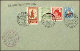 1919, 25 K. Bis 1 R. Freimarken Mit Zähnung B Und 1 R. Löwe Blau/rot Je Mit Stempel POLNI'POSTA POSTE...