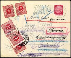 PORTOMARKEN-WELTREKORDBRIEF, Vierfach Nachgesendeter Und Vierfach Mit Nachportomarken Frankierter Brief. Mit 12 Pfg...