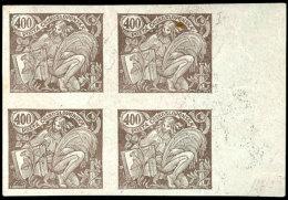 400 H. Dunkelbraun, Im Ungezähnten Viererblock Mit Rechtem Bogenrand, Rücks. Auf Der Originalgummierung...