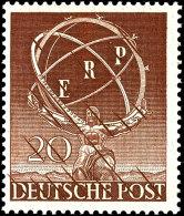 20 Pf. ERP Probedruck Gezähnt In Schwärzlichgelbbraun, Tadellos Postfrisch, Tiefst Gepr. Schlegel BPP,...