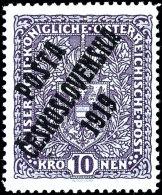 """10 Kronen Freimarke Mit Aufdruck """"Posta Ceskoslovenska 1919"""", Type I, Tadellos Ungebraucht, Fotobefund Darmietzel,..."""