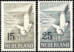 """15 Gulden Und 25 Gulden """"Silbermöve über Landschaft"""", Flugpostausgabe 1951, Tadellos Postfrisch, Mi...."""