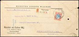 """25 C. Wilhelmina, Als Einzelfrankatur Auf Eingeschriebener Auslandssendung Muster Ohne Wert """"Monster Zonder Waarde""""..."""