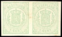 1 C. Grün, Wappen, Ungezähnt, Waager. Paar Postfrisch, Gepr. Bühler, Mi. 400,- Für *, Katalog:...