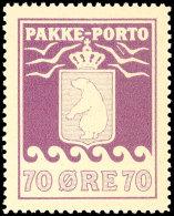 """70 Oere Paketpostmarke, Tiefrotviolett, Plattenfehler Feld 7 """"Pfeil Zwischen Der Mittleren Und Oberen Rechten..."""