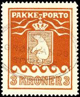 """3 Kr. Paketpostmarke, Tadellos Gestempelt """"Grönlands Styrelse"""", Selten In Dieser Hervorragenden Zähnung,..."""