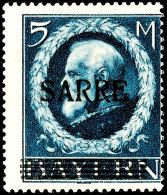 """5 Mark Bayern Sarre Tadellos Postfrisch Von Bogenfeld 8, Fotoattest Braun BPP: """"Die Qualität Ist Einwandfrei.""""..."""