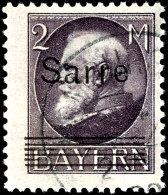 """2 Mark Bayern Mit Aufdruck """"Sarre"""", Schwarzgrauviolett, Aufdruckfehler I """"sechs Statt Fünf Gitterlinien..."""