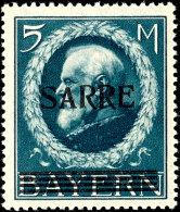 """1920, """"Sarre""""-Aufdruck Kpl. Mit Sauberen Fälze. Dabei Der Spitzenwert 5 M. Mit Aufdruck-Abart II (""""kleines..."""