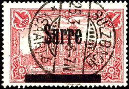 """1 Mark Germania Mit Aufdruck """"Sarre"""", 26 : 17 Zähnungslöcher, Gestempelt """"SULZBACH - * (Saar) B 25.3.20"""",..."""