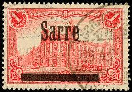 """1 Mark Sarre, """"spitzes S In Sarre"""", Gestempelt, Sign. Dr.Dub, Gepr. Burger BPP, Mi.160,-., Katalog: 17AII/IV O1..."""