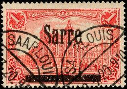 """1 Mark Sarre, """"abgeschliffenes S In Sarre"""", Gestempelt, Sign. Dr.Dub, Gepr. Burger BPP, Mi. 200,-., Katalog: 17AI/V..."""