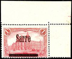 """1 Mark Deutsches  Reich Mit Aufdruck """"Sarre"""", Aufdruckabart """"V"""", Eckrandstück Oben Rechts, Postfrisch,..."""