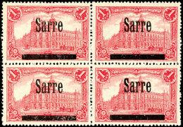 """1 Mark  """"Sarre"""" Auf Germania, Postfrischer Viererblock (Feld 1,2, 5 Und 6), Gepr. Burger BPP Und Dr. Schneider, Mi...."""