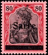 """80 Pfg Germania Mit Aufdruck """"Sarre"""" In Type I, Aufdruckfehler QII """"Einkerbung Links Am Oberen Bogen Des S"""",..."""