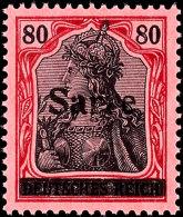 """80 Pfg Germania Mit Aufdruck """"Sarre"""" In Type I, Aufdruckfehler NI """"oberer Bogen Des A Gebrochen"""", Tadellos..."""