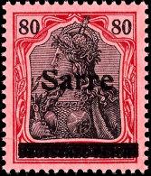 """80 Pfg Germania Mit Aufdruck """"Sarre"""" In Type I, Aufdruckfehler L """"S Oben Abgeschliffen"""", Tadellos Postfrisch,..."""