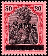 """80 Pfg Germania Mit Aufdruck """"Sarre"""" In Type I, Aufdruckfehler J """"Einkerbungen Im Balken Unten"""", Tadellos..."""