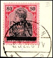 80 Pf. Germania Sarre In Type III Mit Abart Y: S Oben Abgeschliffen, Tadellos Auf Briefstück, Fotoattest...