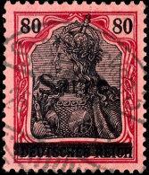 """80 Pfg Germania Mit Aufdruck """"Sarre"""" In Type III, Aufdruckfehler W, Tadellos Gestempelt, Fotoattest Braun BPP..."""
