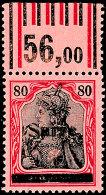 80 Pf. Germania Sarre Mit Aufdruck Type III, Oberrand Walze, Tadellos Postfrisch (Oberrand Vorgefaltet), Gepr. Dr....