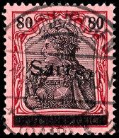 """80 Pfg Germania Mit Aufdruck """"Sarre"""" In Type III, Gestempelt """"Neunkirchen - * (Saar) 1a 13.3.20"""", Tadellose..."""